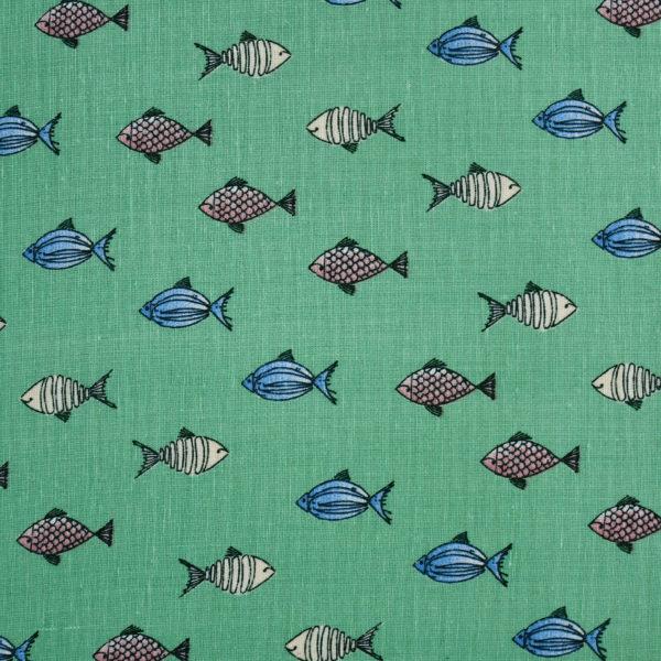 Green Base Fish Print Fabric