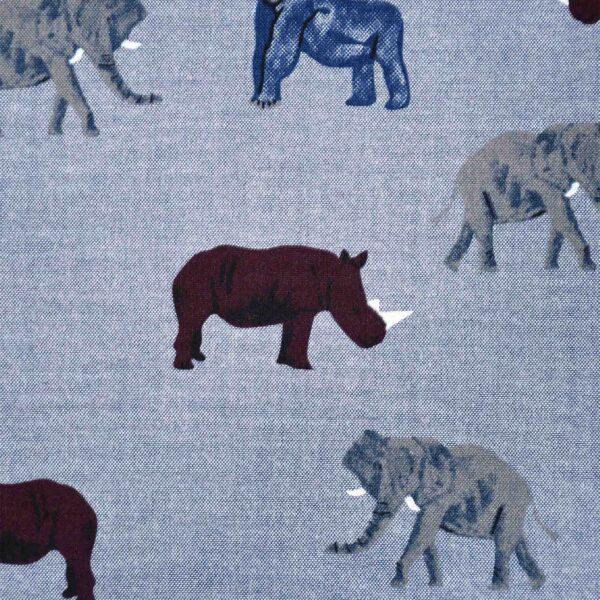 Cotton Blue Chambray Base Animal Print