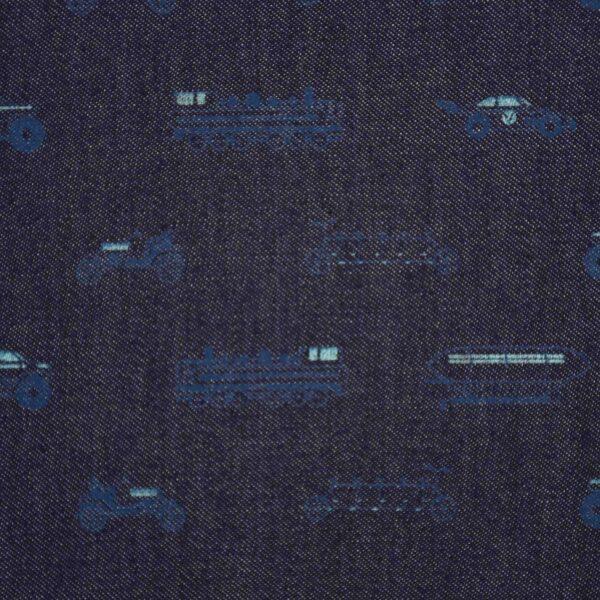 Yarn Dyed Indigo Over Print Fabric