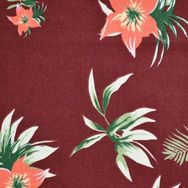 Maroon Base Leaf Print Fabric