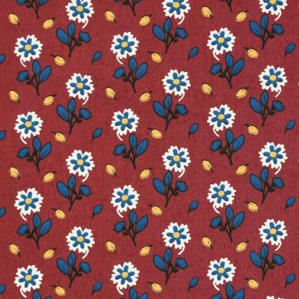 Maroon Base 2 Color Flower Print Fabric