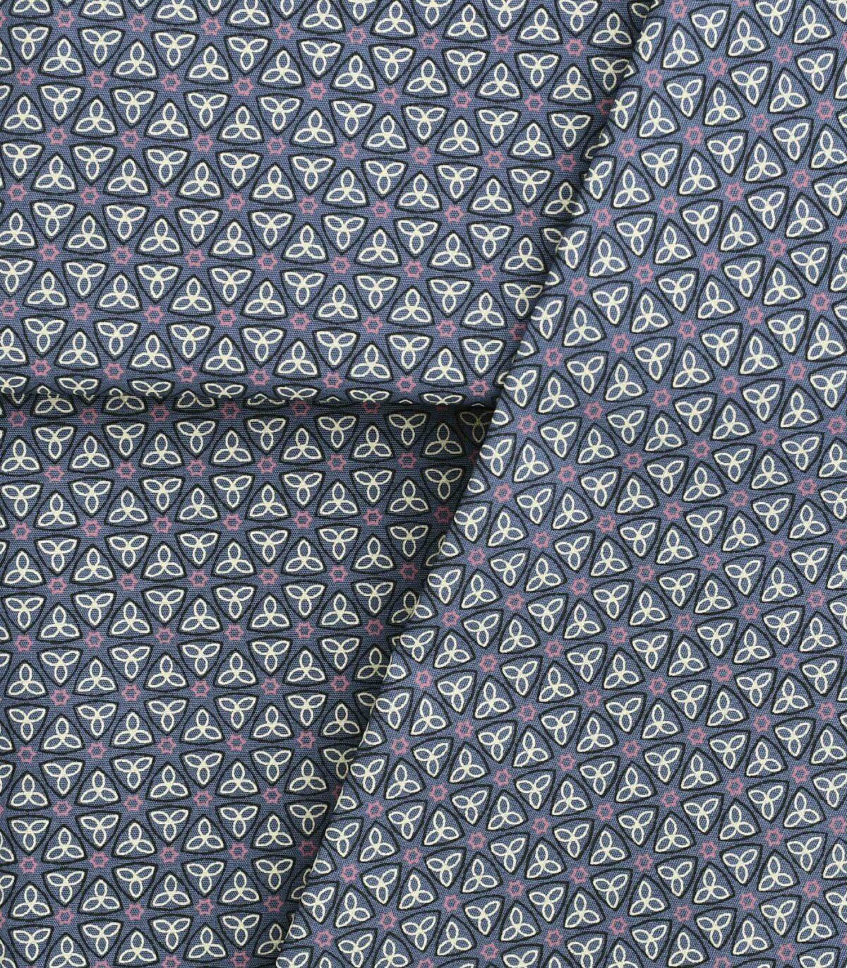 Cotton Blue Base Geometric Print Fabric