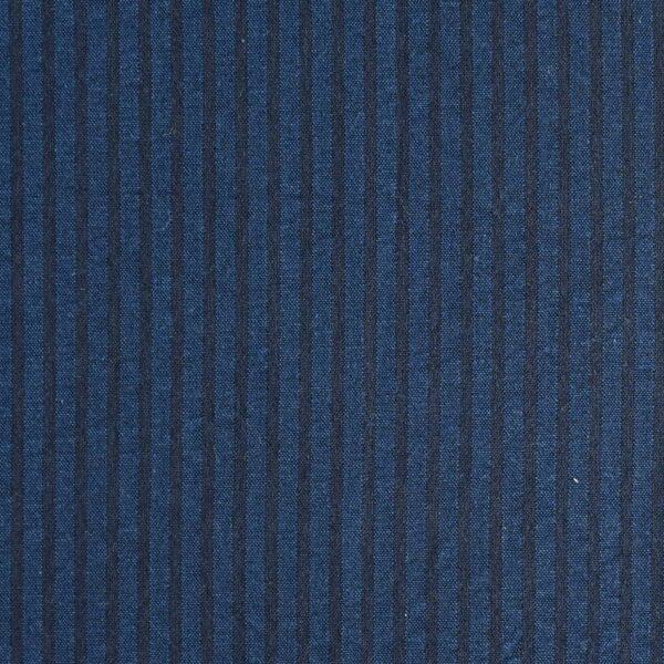 Cotton Navy Stripe Seersucker Dyed Fabric