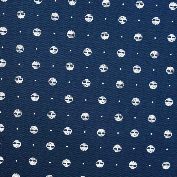 Cotton Dark Navy Circle Print Fabric