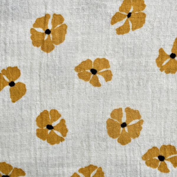 Cotton Beige Color Base Flower Print Fabric