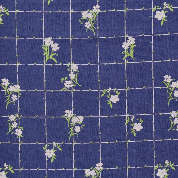 Navy Blue Base Flower Print Viscose Fabric