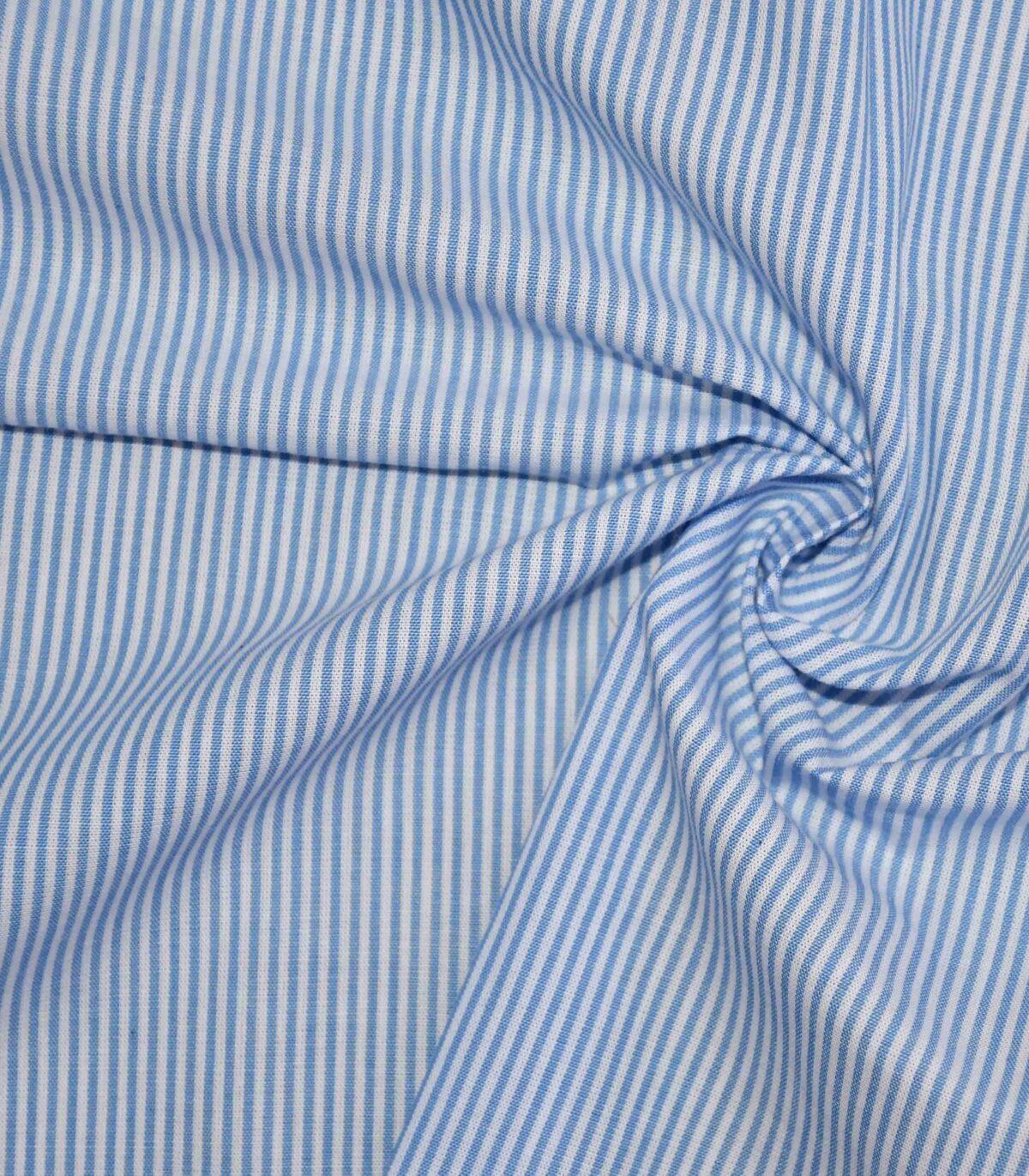 Blue & White Cotton Stripe Fabric