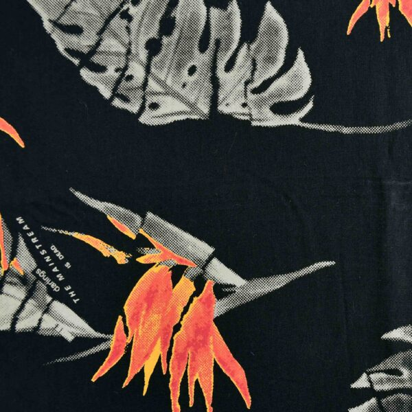 Multi Blends Black Base Leaf Print Fabric