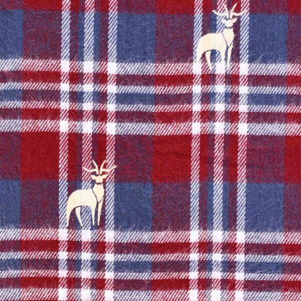 Cotton Yarn Dyed Checked Deer Print Fabric