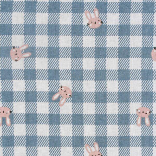 Cotton Checked Cat Print Fabric
