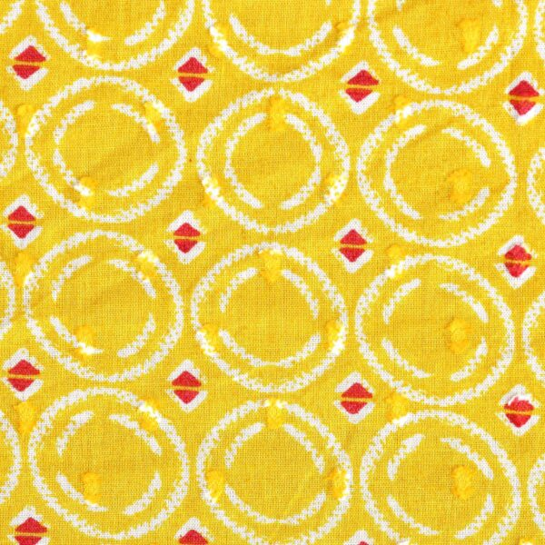 Cotton Yellow Clip Dot Print Fabric