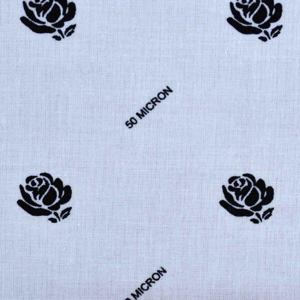 Cotton Black Rose Print Fabric