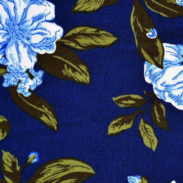 Cotton Leaf with Flower Print Fabric