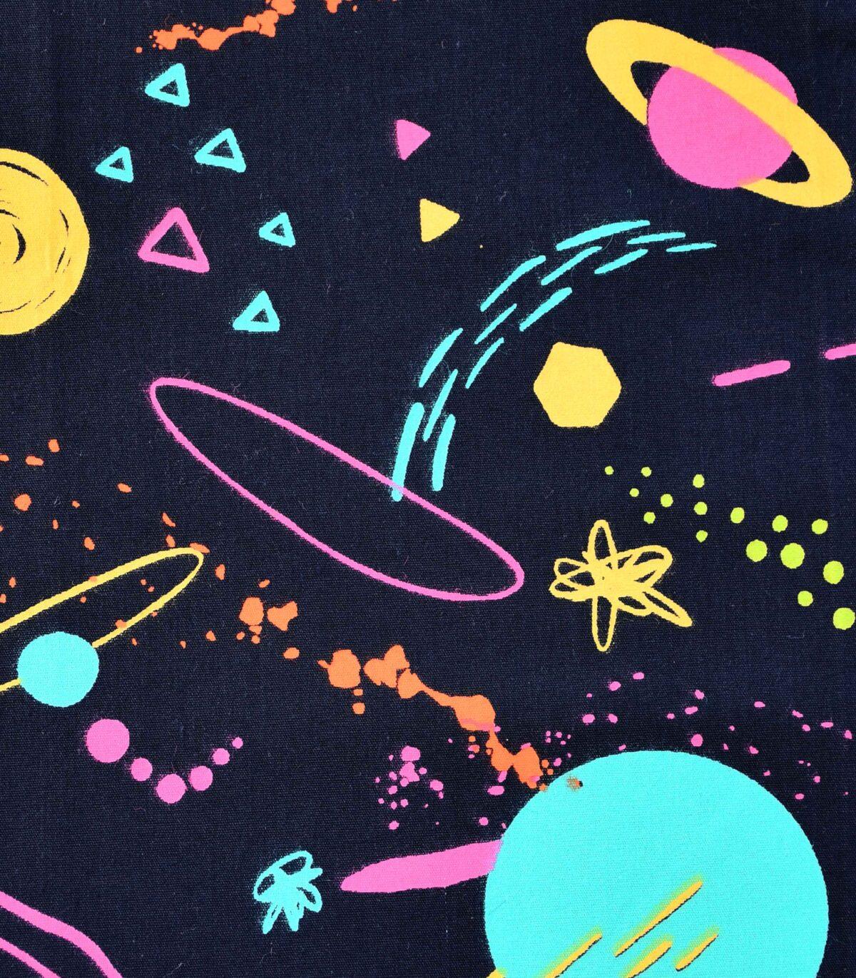 Cotton Black Base Galaxy Print Fabric