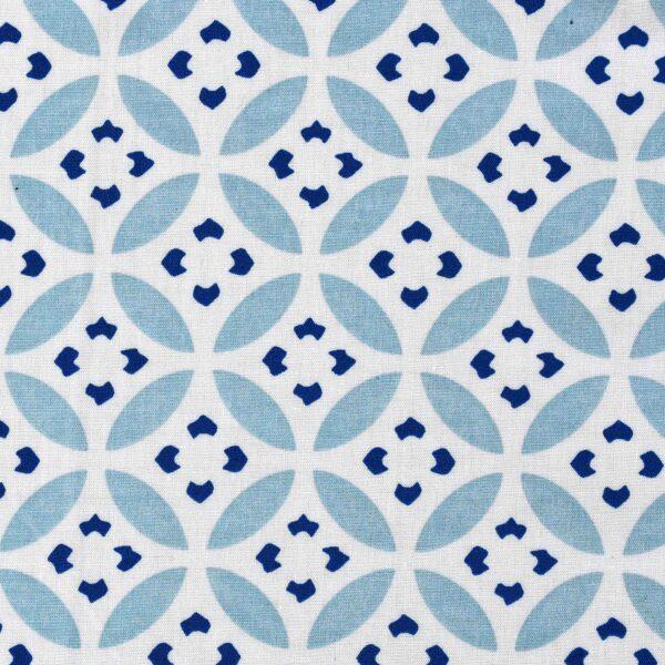 CottonModal White Base Circle Print Fabric