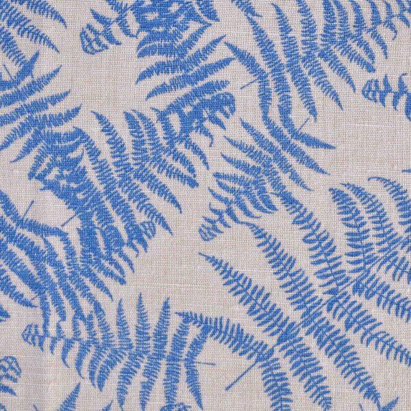 Linen Cotton Blue Leaf Print Fabric
