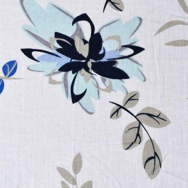 Cotton Blue Color Flower Print Woven Fabric