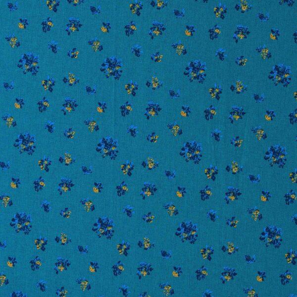 Cotton Yellow Flower Print Woven Fabric