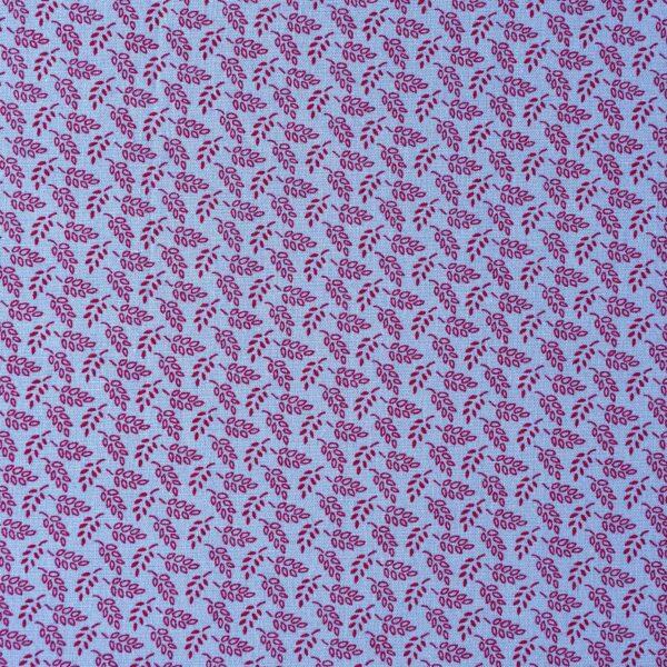 Cotton Lycra Blue Small Leaf Print Fabric