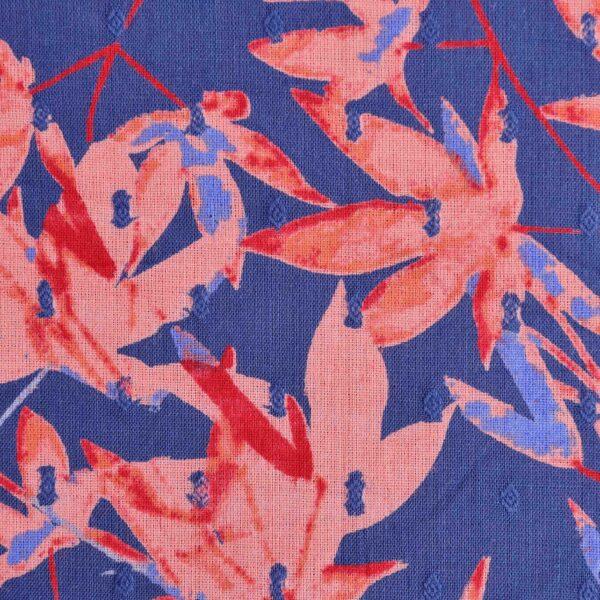 Cotton Clip Dot Dobby Flower Print Fabric