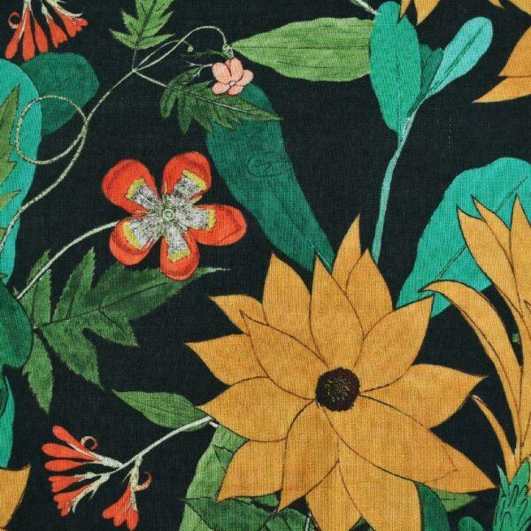 Cotton Hemp Flower Print Woven Fabric