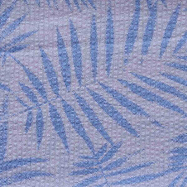 Blue Leaf Print Cotton Woven Fabric